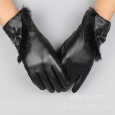 Bao tay nữ Găng tay da nữ cảm ứng mùa đông họa tiết dải lông thời trang