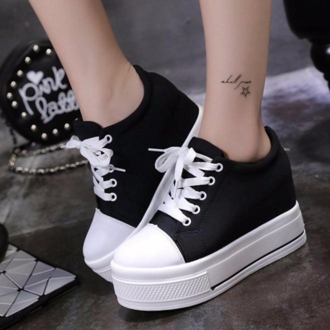 Giày bánh mì đế độn cá tính cao 9cm chất vải mềm mại full size màu đen BM052D giá rẻ