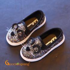 Giày bé gái đẹp giày dép bé gái đính kim sa hình chuột đen GLG033-Black