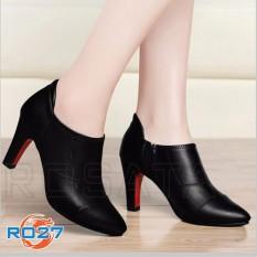 Giày boot bốt cao gót nữ đẹp cổ thấp hàng hiệu Rosata-chỉ nối RO27