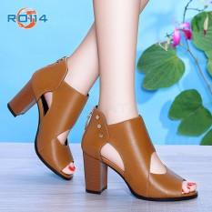 Giày boot bốt cao gót nữ đẹp cổ thấp hàng hiệu Rosata-phá cách RO114
