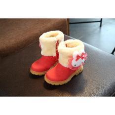 Hình ảnh Giày Boot Cổ Lông D8504 Cho Bé Gái Màu Hồng/Nâu