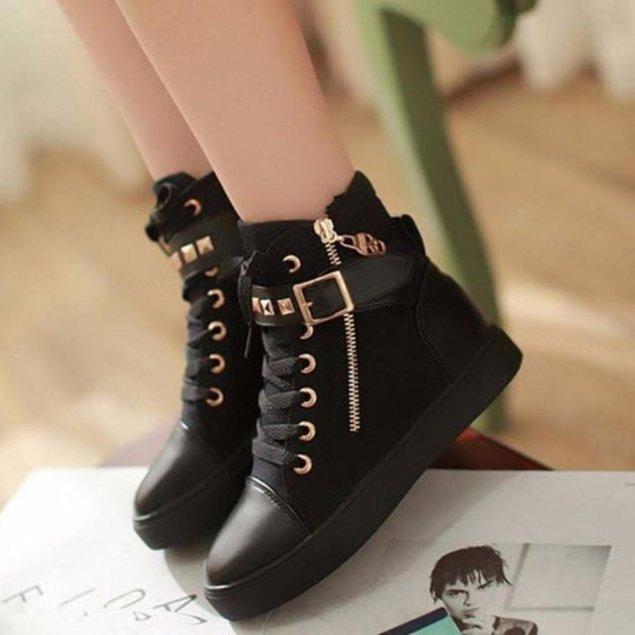 Giày boot dáng thể thao cao cấp - B002D (đen) giá rẻ