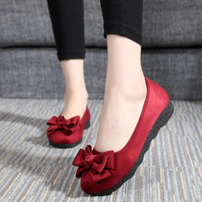 (Form rộng) Giày búp bê đính nơ xinh xắn dễ thương giá rẻ