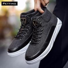 Giá Bán Giay Cao Cổ Sneakers Cao Cấp Pettino B002 Đen Nhãn Hiệu Pettino