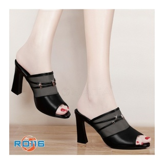 Giày cao gót nữ đẹp đế vuông hàng hiệu Rosata-lưới hở mũi RO116 thumbnail