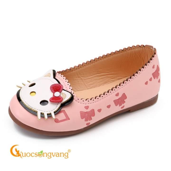 Giày dép bé gái giày bé gái búp bê đế kếp GLG006 hồng hình mèo
