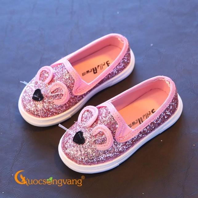 Giày dép bé gái giày bé gái đẹp màu hồng đính kim sa hình chuột GLG033-Pink giá rẻ
