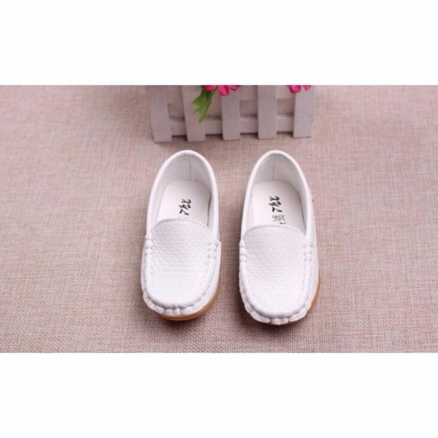 Giày lười Moca trắng cho bé trai giá rẻ