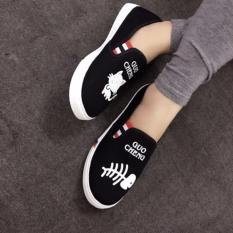 Giày lười slip on mèo cá thời trang - đen