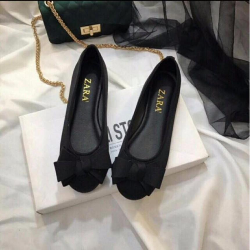 Giày búp bê dính nơ phồng xinh xắn - màu đen giá rẻ