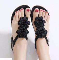 Chiết Khấu Giay Sandal Đế Bệt Nữ Phối Hoa Ln1267 Đen Oem