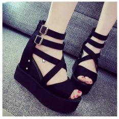 Giày sandal nữ đế xuồng quai chéo cao 11cm phong cách Hàn Quốc S040 (Đen)