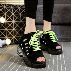 Giày sandal nữ đế xuồng cao 11cm phong cách Hàn Quốc S037D (Đen)
