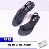 [Có Video Quay Thật] Giày sandal nữ xỏ ngón thời trang cao cấp Latoma TA0881(Đen)+ Tặng kèm thẻ ưu đãi Latoma