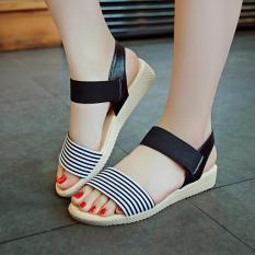 Chiết Khấu Giay Sandal Sọc Quai Ngang Style Han Quốc 2017 240504 240504 37 Đen