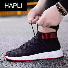 Chiết Khấu Giay Sneaker Nam Cỏ Chun Hapli Newnmd02 Đen Đé Đỏ Hapli
