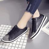 Giay Sneaker Nữ Chất Da Mềm Mịn Phong Cach Han Quốc Msp 2962 Đen None Chiết Khấu 50