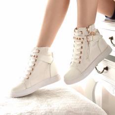 Bán Giay Sneaker Nữ Cổ Cao Nạm Kim Loại Msp 2109 Trắng None Người Bán Sỉ