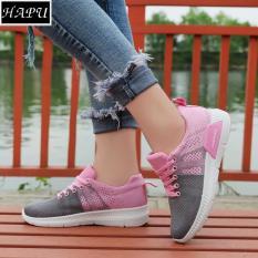 Giày sneaker nữ TESXO kết hợp 2 màu HAPU (tùy chọn 3 màu: đen đỏ, xanh hồng, xám hồng nhạt)