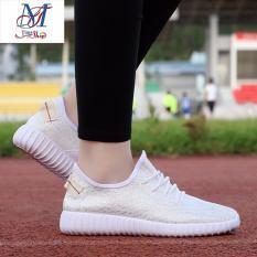 Bán Giay Sneaker Theu Tay Sports Running Thể Thao Ngoai Trời Thời Trang Trẻ Nữ 2017 Trắng