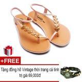 Giá Bán Giay Xăng Đan Lopez Cute D118 Hồng Tặng Đồng Hồ Thời Trang Phong Cach Vintage Mới Rẻ
