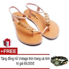 Giá Bán Giay Xăng Đan Lopez Cute D118 Hồng Tặng Đồng Hồ Thời Trang Phong Cach Vintage Mới