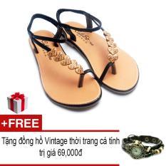 Bán Giay Xăng Đan Lopez Cute D30 Đen Tặng Đồng Hồ Thời Trang Phong Cach Vintage Rẻ