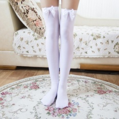 Giá bán Girl Stretchy Meias Over The Knee High Socks Stockings Tights With Bows Thigh White Type:1 - intl