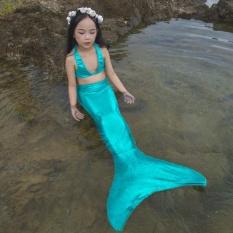Giá bán Cô gái của Nàng Tiên Cá Bơi Đồ Bơi Trẻ Em Bơi Trang Phục 3in1 Bộ (Đầu + Đuôi + tặng Monofin)-quốc tế