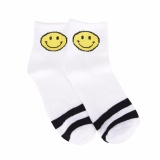 Girls Socks Smiling Face Pattern Simple Female Socks Cotton Harajuku Style Socks White - intl