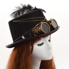 Gothic Man Women Hat Vintage Cosplay Victorian Steampunk Hat Feathers Glasses - intl