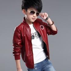 Hình ảnh Grandwish Children Leather Jacket Cartoo Printing Jacket O-Neck 4T-14T (Red) - intl