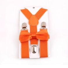 Giá bán HengSong Unisex Kids Children Bow Tie Y-back Pants Clip-on Adjustable Elastic Belt Suspender Straps Braces Dark Orange - intl