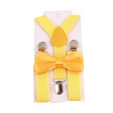 Giá bán HengSong Unisex Kids Children Bow Tie Y-back Pants Clip-on Adjustable Elastic Belt Suspender Straps Braces Egg Yellow - intl