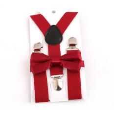 HengSong Unisex Trẻ em Dây Thắt Nơ Y-lưng Quần Kẹp Có Thể Điều Chỉnh Dây Đai Co Giãn Suspender Dây Nẹp Táo Tàu -đỏ-quốc tế