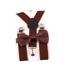 Giá bán HengSong Unisex Kids Children Bow Tie Y-back Pants Clip-on Adjustable Elastic Belt Suspender Straps Braces Light Coffee - intl