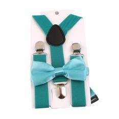 Giá bán HengSong Unisex Trẻ em Dây Thắt Nơ Y-lưng Quần Kẹp Có Thể Điều Chỉnh Dây Đai Co Giãn Suspender Dây Nẹp Con Công màu xanh-quốc tế