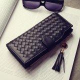 High Quality Western Style Retro Weave Grain Handbag Large Capability Portable L-wallet for Women Portable Purse (Black) - intl
