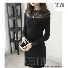 Mua Hinh Thật Vay Đầm Nữ Đẹp Thời Trang Thun Om Đơn Giản Dressie Db1051B Đen Trễ Vai Dressie Rẻ