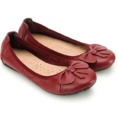 HL7909 - Giày nữ búp bê Huy Hoàng da bò màu đỏ đô