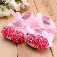 Giá bán Nóng kid phẳng giày tập đi cho bé thương mại Đôn Hoàng ren hoa dây đeo đầu với trẻ em MÀU HỒNG-intl