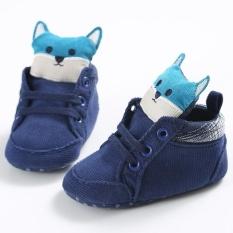 Nóng Newborn-18M Bé trai bé gái Mùa Đông Ấm Trơn Dễ Thương Giày Tập Đi Cho Bé Giày Đế Bằng Đế Mềm S1672 màu xanh-quốc tế