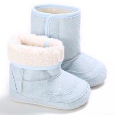 Giá bán Nóng Newborn-18M Bé trai bé gái Mùa Đông Ấm Trơn Dễ Thương Giày Tập Đi Cho Bé Giày Đế Mềm S1690 Xanh Dương -quốc tế