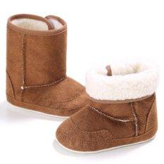 Giá bán Nóng Newborn-18M Bé trai bé gái Mùa Đông Ấm Trơn Dễ Thương Giày Tập Đi Cho Bé Giày Đế Mềm S1691 Nâu -quốc tế