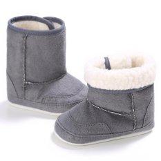 Giá bán Nóng Newborn-18M Bé trai bé gái Mùa Đông Ấm Trơn Dễ Thương Giày Tập Đi Cho Bé Giày Đế Mềm S1693 Màu Xám -quốc tế
