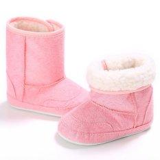 Giá bán Nóng Newborn-18M Bé trai bé gái Mùa Đông Ấm Trơn Dễ Thương Giày Tập Đi Cho Bé Giày Đế Mềm S1696 Hồng -quốc tế