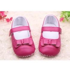 Giá bán Trẻ sơ sinh Cho Bé kid Da Bé Gái Nơ Mềm Mại Đế Giày Mary Janes Đế Răng Cưa Prewalker nóng HOA HỒNG-quốc tế