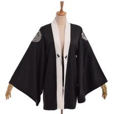 Hình ảnh Japanese Cranes Embroidery Black Yukata Trench Loose Punk Rock Outwear Coat - intl
