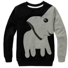 Kids Boys Long Sleeve Tops Color Block Animal Elephant Sweater T-Shirt - Intl By Blue Crystal.